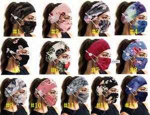 Спорт Face Mask Holder ободки с помощью кнопки Hairband Tie Dye Face Mask Цветочные Печатные маски Полосы Женщины Упругие Аксессуары для волос DHL D8503