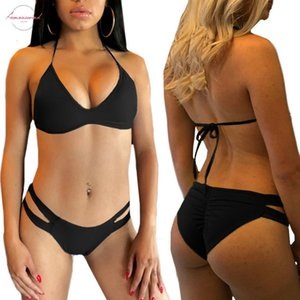 2020 Summer Women Hot Sexy Bikini Sets Solid Two Pieces Hollow Out Panty And Push Up Bra Swimsuit Female Sexy Biquini Swimwear