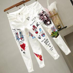 2020 nuovo arrivo Plaid Cotone Zipper Magro Bianco Leggings primavera di modo di stampa ad alta matita della vita dei pantaloni jeans donna