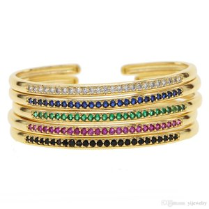 Diâmetro interno 58-60 aberto ajustar pulseira cz pavimentada círculo banda clássico colorido birthstone banhado a ouro mulheres pulseiras
