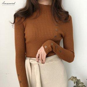 Turtleneck Autumn Winter Women Sweater Button Design Long Sleeve Pullover Jumper Women Sweater Knitted Top Pull Femme