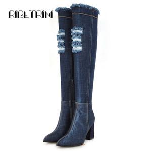 RIBETRINI sui fori stivali al ginocchio rotti Streth Denim Stivali Donne quadri alti talloni delle ragazze Zipper donna Scarpe Donna 34-43