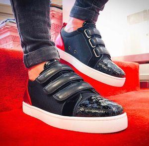 Catégorie luxe Kiddo Bordo Donna Sneaker Red fond Hommes marche velcro Chaussures Mode semelle rouge marche Designer Chaussures EU35-47