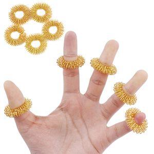 الذهبي فنجر تدليك حلقة الإغاثة الوخز بالإبر حلقة الاسترخاء الجسم مدلك عشرات الوخز بالإبر أداة الرعاية الصحية لتخفيف الآلام