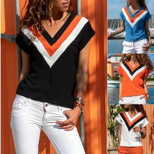 Señoras de las mujeres de costura con cuello en V manga corta camisetas ocasional del verano blusas de las tapas de las muchachas de la raya de impresión camisas