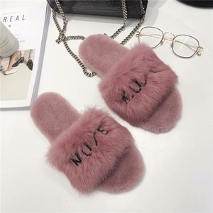 2018 New Fashion Women Slippers Female Letter Fur Shoes Lady Indoor Leisure Shoes Flock Flat Heels Comfortable Shoe xshfbcl