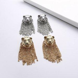 Mulheres Lion Head Longo Brinco animal Lion Head Tassel Earring Moda Jóias e Acessórios para partido do presente