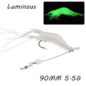 10pcs / lot 90mm 5.5g Luminous Shrimp Angelhaken Angelhaken Einzelhaken Gummiköder Köder WA_26