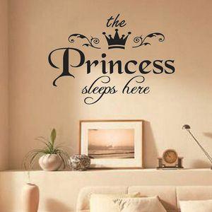 Принцесса спит здесь Наклейка на стену для комнаты для девочек Спальня для девочки Фоновая отделка дома наклейками Art Наклейки на обои