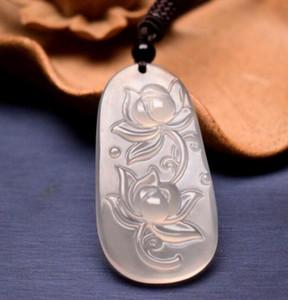 Ice Samen weißen Chalzedon Lotus Jade Anhänger Männer und Frauen Doppel-Lotus-Halskette Jade Anhänger