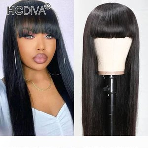 Natural Black Human Hair Wigs With Bangs Brazilian Straight Bob Wig Remy Hair For Women Full Machine Made Wig With Bang HCDIVA