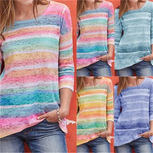 Womens Designer Colorful Striped Tshirts Fashion Long Sleeve Womens O Neck Contrast Color Top Summer Ladies Loose Tee
