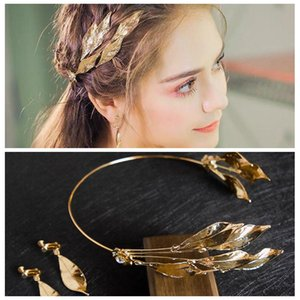 Retro Hand-made Leaves Olives Crowns Earrings Set Golden Wedding Headdresses Luxurious