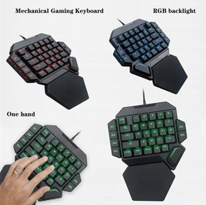 Hot K50 RGB One Hand Mechanical Gaming Keyboard Backlit Mouse Combo 35 Keys Blue Switch USB Wired Keyboard Wrist Rest Support Gaming Keypad