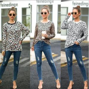 Long Sleeve Womens Tops Casual Primavera Outono Feminino Vestuário Leopard Impresso Womens T-shirts do pescoço de grupo