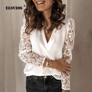 Plus Size Women Chiffon Blouse 2020 Spring Summer V-neck Lace Hollow Out Top Sexy Backless Long Sleeve Patchwork Shirt Feminino