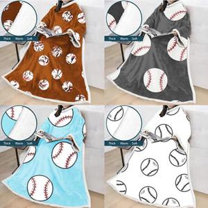 البيسبول كسلان البطانيات 18 أنماط 50 * 70inch دافئ شتاء أغطية لينة مع كم سميكة صوفا لبس غطاء الرأس للمرأة LJJO7355