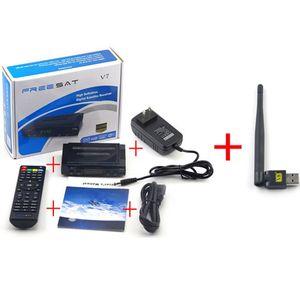 Freeshipping 1 قطع المهنية freesat v7 hd استقبال 1080 وعاء + 1 قطع usb wireless wifi محول مع الهوية ل freesat v7 hd كابل