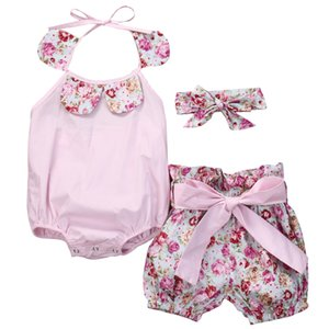 Toddler Baby Girl abiti girocollo senza maniche volant backless Body stampa floreale shorts shorts arco fascia 3pc cotone bambini outfit