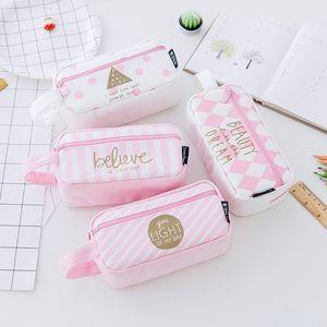 Карандаш сумка Student пенал большой емкости Canvas чехол розовый Zipper студент сумка школа Канцелярские