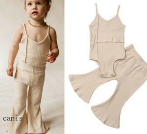 2020 Baby Summer Clothing Newborn Baby Girl Solid Sleeveless Romper Top+Long Bell Pants Bottoms Outfits Ribbed Clothes Sets 0-3Y