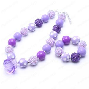 Moda ragazze dei capretti viola borda la collana braccialetti si è regolato per il bambino neonato Set gioielli Bambino Bubblegum Beads Chunky
