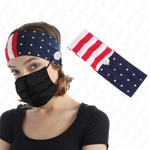 USA Flag Print Headband with button for face mask Cover Elastic Ear Protection Mask Holder Sports Gym Yoda stretchy Hairband Headwrap D52703