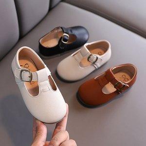 Zapatos de las muchachas Niños Pisos T Correa niños del cuero de zapatos de vestir para el niño princesa de las muchachas del bebé Los niños pequeños antideslizante 1-5Y
