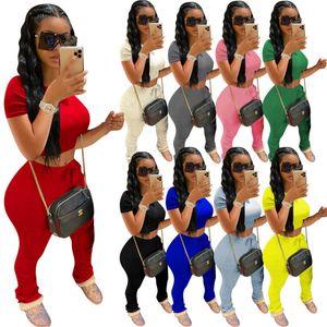 Womens Outfits Short Sleeve 2 Piece Set Tracksuit Jogging T Shirt Crop Top Pants Solid Color Tight Pants Trousers Sport Suit Hy7011