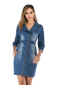 Осень Женский Жан Vintage платье Женщины нагрудные шеи с Zipper платья Повседневная женская работа платье