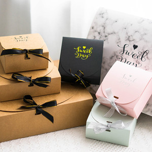 5pcs Creative Marble Style Gift Box Creative Kraft Paper DIY Gift Bag With Ribbon Candy Box Wedding Birthday Party Supplies