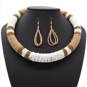 Бисера воротник ожерелье серьги Boho мотаться падение серьги ожерелье для женщин
