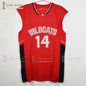 Zac Efron Troy Bolton Maillot de basket-ball domicile pour lycéens 14e lycée de l'est est cousu tout rouge SH190629