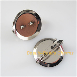 Мода 25шт тусклый посеребренные круглые брошь обратно бар булавки выводы коннекторы 20 мм
