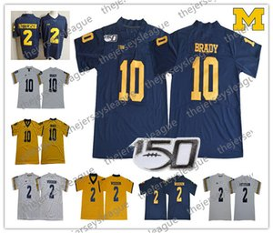 2019 Michigan Wolverines 150TH # 10 Tom Brady # 2 Charles Woodson Navy Blue White Yellow Stitched NCAA College Football Jersey