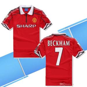 최고 품질 Velvet 1998 1999 Man Unite 레트로 클래식 축구 유니폼 98 99 Beckham # 7 Giggs 축구 셔츠 Solskjaer 1998 1999 Retro Jersey