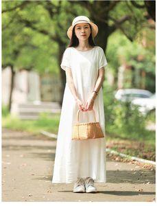 New 2019 Women's Dresses Spring Summer Cotton Linen Elegant Lady Pleated Long White Dress Round Neck PD001