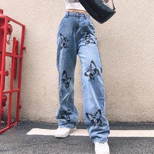 BSTCOCHI бабочка Печатные прямые брюки Женщины Повседневная Harajuku Denim Длинные брюки женские Streetwear Мода джинсы Женский