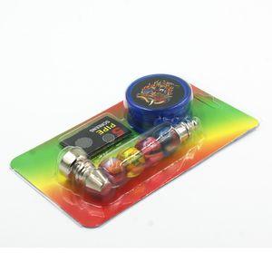 Pipa metal kit del sistema de tabaco del bolsillo de Jamaica Bob granos coloridos pipa de fumar hierba de tubería con pantallas de plástico Grinder malla de filtro combinado