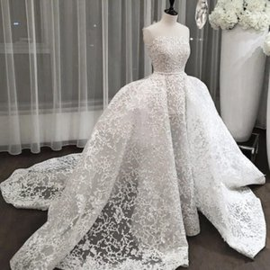 Dubai Glamorous Mermaid Brautkleider mit Overskirt reizvollen trägerloser voller Spitze Ballkleid Brautkleid Saudi-Arabien Prinzessin Brautkleider