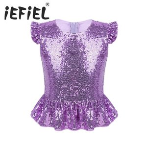 Kids Girls Mermaid Costume Sparkly Sequins s Full Lined Back Zipper Peplum Top for Halloween Carnival Birthday Role Play Clothes Y200704