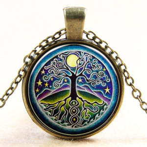 Halsketten-Anhänger-Weinlese-Baum Cabochons antike Bronze Halskette Modeschmuck Medaillon Kettenhalsketten