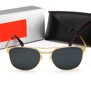 Excellent Quality Fashion Designer Sunglasses Semi Rimless Sun Glasses For Mens Womens Gold Frame ray Green G15 Glass ban Lenses