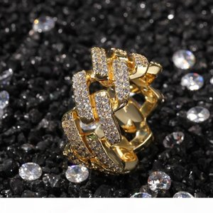 New Mens Jewelry Rings Hip Hop Jewelry Iced Out Gold Rings Luxury Gold Plated Fashion BlingBling Diamond Ring