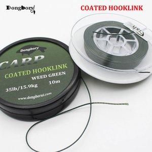 Línea de pesca de carpa de 10 M Enlace de anzuelo recubierto 25 35 LB Trenza HookLink Skinlink Semi Rig Hair Rig Bream Tench Grueso Aparejos de pesca