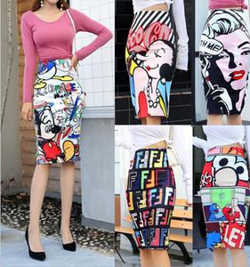 Lettera del fumetto delle donne della stampa a vita alta sottile stretto ginocchio Pencil Gonne 2020 Estate casuale disegno del fumetto Slim Ragazze Vintage pannello esterno dell'anca Mujer