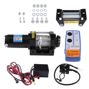 Electric 4000lb Car Winch 12V ATV Winch Towing Cables Pull Kit Remote Control Set Permanent Magnet Motor Winch Trailer Truck