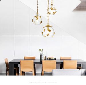 Moderne Glas LED Kronleuchter Beleuchtung Schlafzimmer Wohnzimmer Küche Leuchten LED Pendelleuchten Lichter Goldene Schmetterling Hängelampe