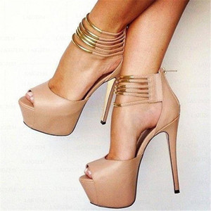 Women Platform Sandals Back Zip Ankle Straps High Heels Zapatos Sandalias Pumps Ladies Shoes Woman Big Size 46 44 2
