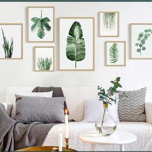 Planta verde digital de la pintura moderna, decorada con cuadro enmarcado arte de la pintura pintado manera de sofá del hotel decoración de la pared Draw DBC DH1496-1